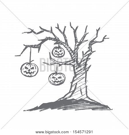 Vector hand drawn Halloween concept sketch. Three Pumpkins with scary human faces hanging on macabre old dry tree twigs