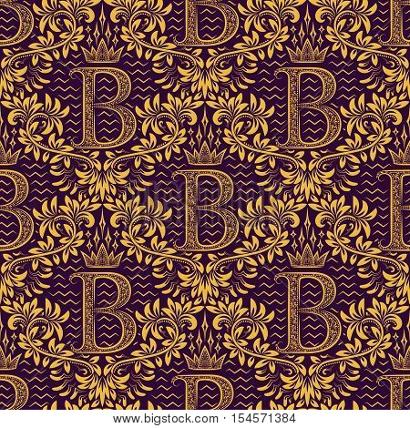 Damask seamless pattern repeating background. Gold purple floral ornament with B letter and crown in baroque style. Antique golden repeatable wallpaper.
