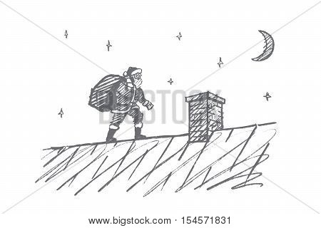 Vector hand drawn Santa Claus concept sketch. Santa Claus with big bag full of presents going to chimney on roof at midnight