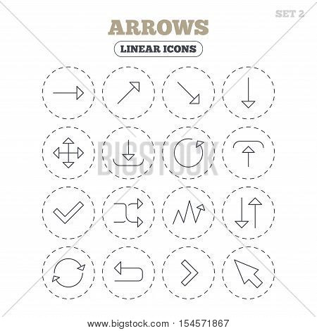 Arrows line icons. Download, upload, check or tick symbols. Refresh, fullscreen and shuffle thin outline signs. Round flat buttons with linear icons. Vector