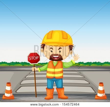 Road worker holding stop sign on the road illustration