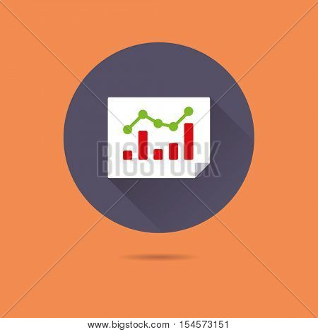 Page rank statistics symbol. Chart with bar graph and line graph flat design long shadow vector icon