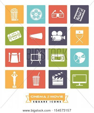 Collection of 16 cinema and movie related vector icons in colored squares with rounded corners
