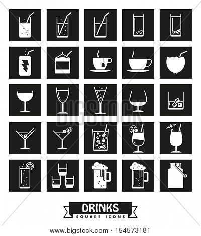 Drinks and beverages icon set. Collection of drink and beverage symbols, negative in black squares