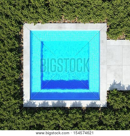 small square pool. top view. 3d rendering