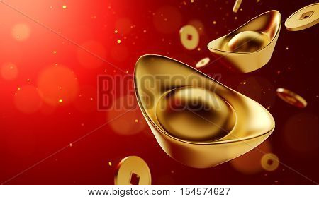 Gold coins and gold sycee ( yuanbao ) on red background Chinese New Year - 3D Rendering