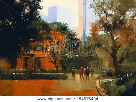 urban scene with people, illustration digital painting