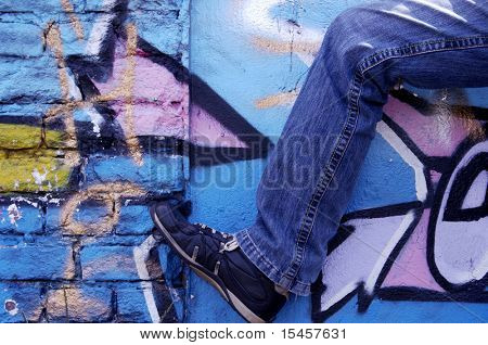 coloured wall  and  leg