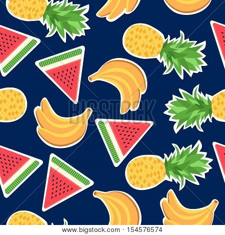 Seamless pattern with fashion patches. Background with banana pineapple and watermelon. Stickers and patches vector background. Stickers pins and patches in cartoon 80s-90s comic style.