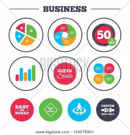 Business pie chart. Growth graph. Baby on board icons. Infant caution signs. Fasten seat belt symbol. Super sale and discount buttons. Vector