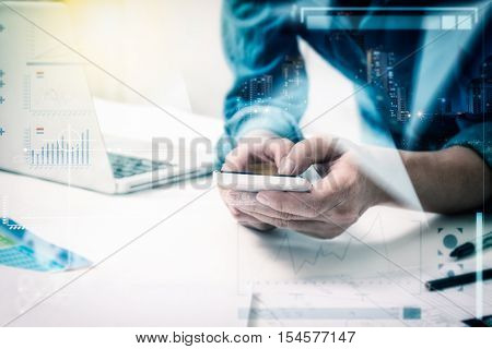 Business People Holding Mobile Phone About Research Data On Internet For Discuss Business Planning M