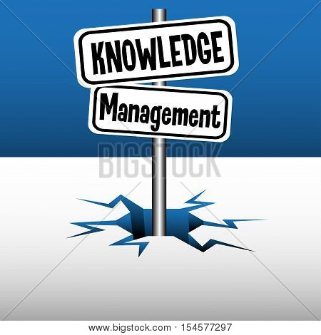 Abstract colorful background with two plates with the text knowledge management coming out from an ice crack