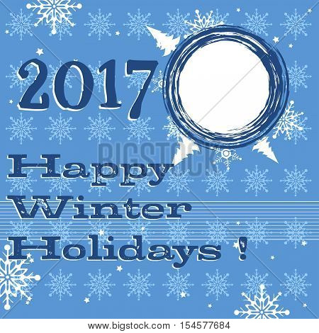 Blue background with white snowflakes and the text Happy Winter Holidays written in dark blue
