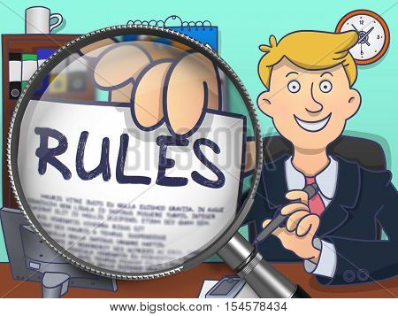 Business Man Shows Paper with Text Rules. Closeup View through Magnifying Glass. Multicolor Doodle Style Illustration.