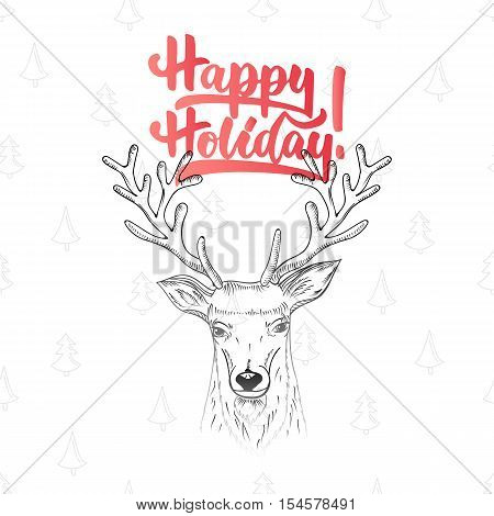 Happy holiday - lettering Christmas and New Year holiday calligraphy phrase isolated on the background. Fun brush ink typography for photo overlays, t-shirt print, flyer, poster design.