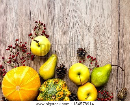 Stylish Composition Of Vegetables, Fruits, Autumn Berries. Top View On Wooden Background. Autumn Fla