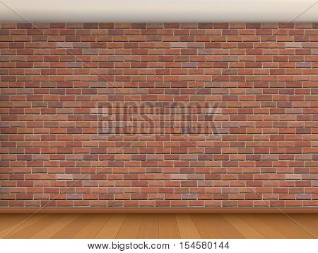 Interior of the room with red brick wall, white ceiling and wooden parquet. Vector architectural background.