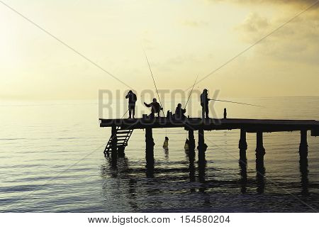 Local fishermen catch fish from the pier. Locals providing fresh fish squid octopus and cuttlefish for luxury restaurants. Socializing with friends.