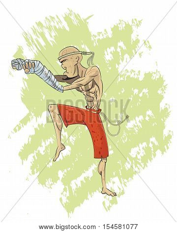 Cool cartoon muay thai fighter layer illustration. Can be use as t shirt print.