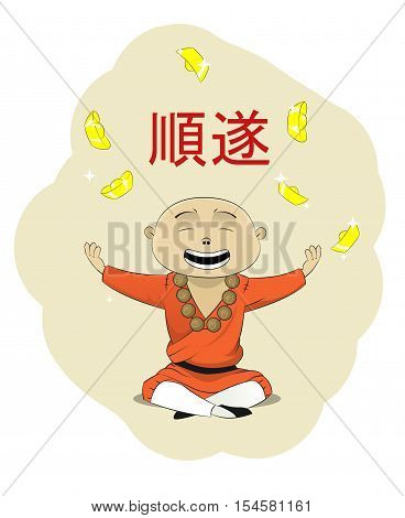 Fun asian monk who wish every body prosperity. Hieroglyph on the top meens Prosperity. It can be used as festive illustration