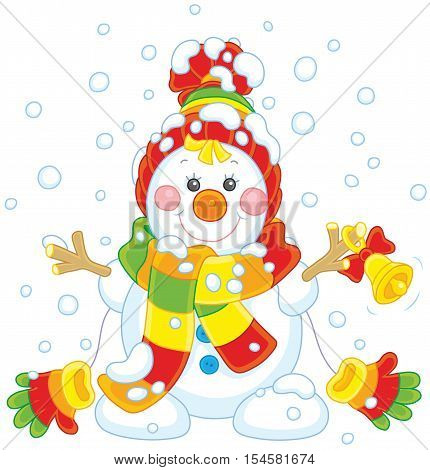 Funny Christmas snowman friendly smiling and ringing a small bell, wearing a colorful scarf, a cap and mittens