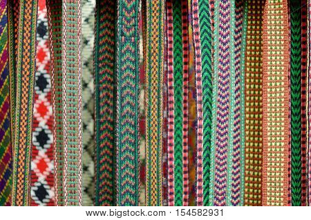 Details of a traditional Lithuanian weave displayed on a fair