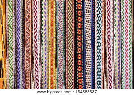 Details of a traditional Lithuanian weave displayed at fair