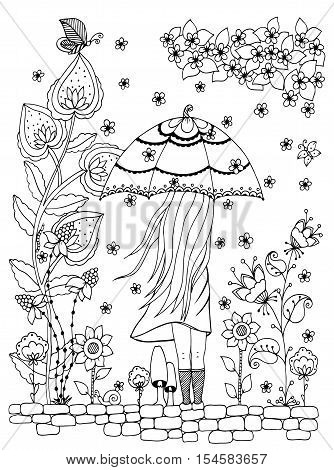 Vector illustration Zen Tangle, a girl with an umbrella in the park. Doodle drawing. Coloring book anti stress for adults. Black and white.