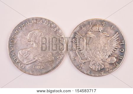Coins Russian ruble silver 1741 Emperor John III Autocrat of all Russia