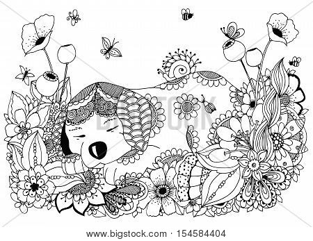 Vector illustration Zen Tangle, puppy sleeps in flowers. Doodle drawing. Coloring book anti stress for adults. Black and white.