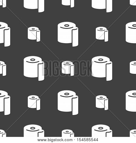 Toilet Paper Icon Sign. Seamless Pattern On A Gray Background. Vector