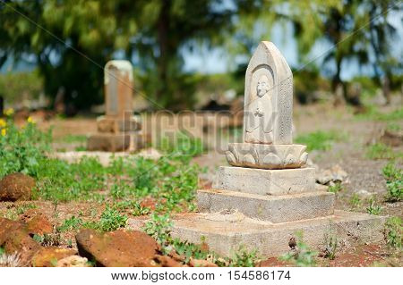Old Chinese Grave Headstones Abandoned On Kauai