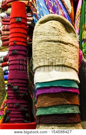 Pile of Turkish fez traditional ottoman hat