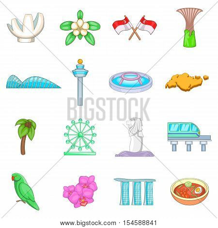 Singapore travel icons set. Cartoon illustration of 16 Singapore travel vector icons for web