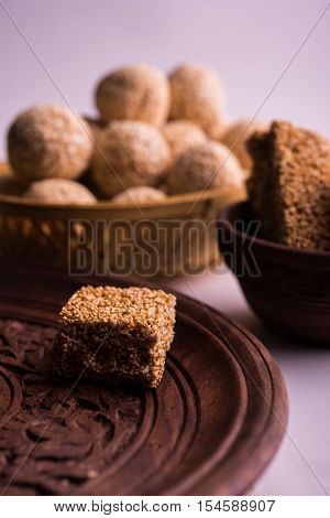 Cholai or Rajgira or Amarnath seed laddo and chikki or cake, Indian sweet and healthy food