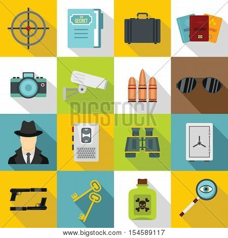 Spy tools icons set. Flat illustration of 16 spy tools travel vector icons for web