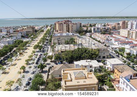 Sanlucar de Barrameda aereal view Cadiz Spain