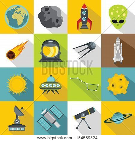 Space icons set. Flat illustration of 16 space travel vector icons for web