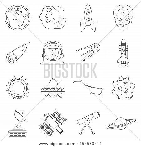 Space icons set. Outline illustration of 16 space travel vector icons for web