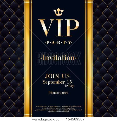 VIP party premium invitation card poster flyer. Black and golden design template. Quilted pattern decorative background with gold ribbon and metallic letters.