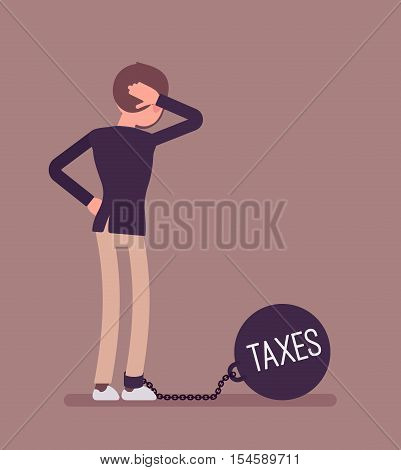 Businesswoman chained with a giant metall weight, written Taxes on a ball, thinking the problem over, scratching his head. Rear view. Cartoon vector flat-style concept illustration