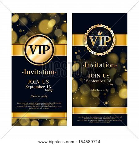 VIP party premium invitation card poster flyer. Black and golden design template. Golden glow bokeh decorative background with gold ribbon and round badge.