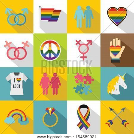 Lgbt icons set. Flat illustration of 16 lgbt vector icons for web