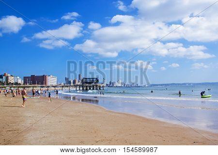 Vetchies Beach Against City Skyline Durban South Africa