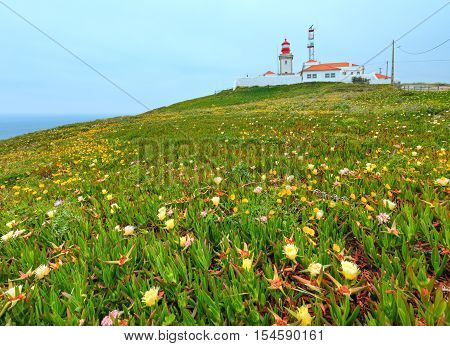 Summer blossoming Cape Roca (Cabo da Roca) with flowers and lighthouse Portugal.