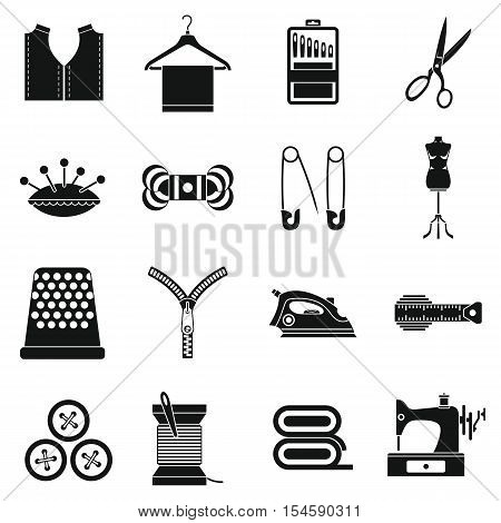 Sewing icons set. Simple illustration of 16 sewing travel vector icons for web