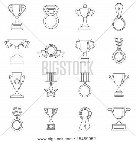 Trophy icons set. Outline illustration of 16 trophy vector icons for web