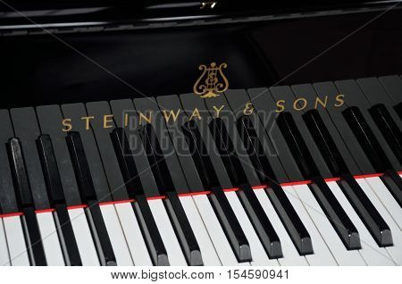 Norfolk United Kingdom - October 24 2016: Keys of Steinway Grand Piano