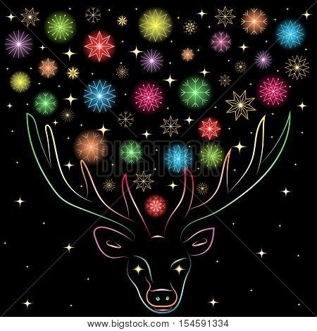 Colorful Shinning Snowflakes Between Deer's Horns. Hand Drawn Rainbow Colored Silhouette of Reindeer. Perfect for Festive Design..Vector Illustration.