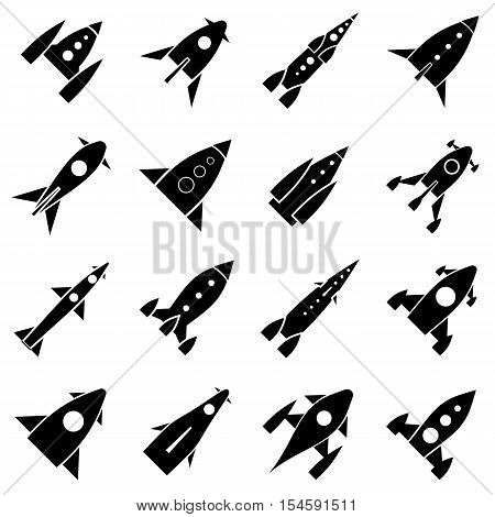 Rocket launch icons set. Simple illustration of 16 rocket launch vector icons for web